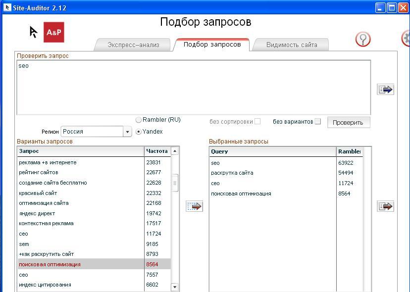 site-auditor:подбор запросов