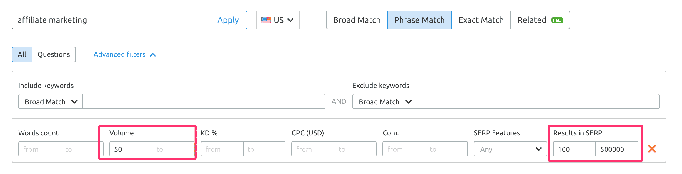 how to do keyword research in semrush