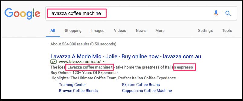 come trovare parole chiave LSI - cerca le parole in grassetto nella ricerca di Google