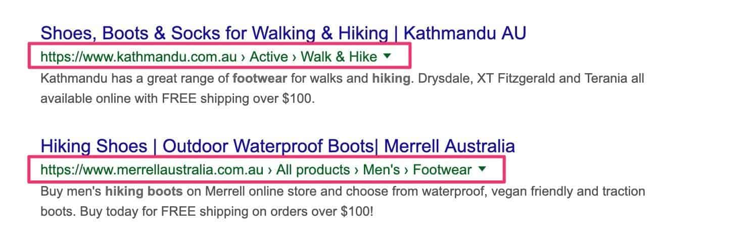 breadcrumb navigation in SERP snippets