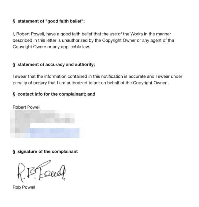 DMCA - dichiarazione di buona fede etc