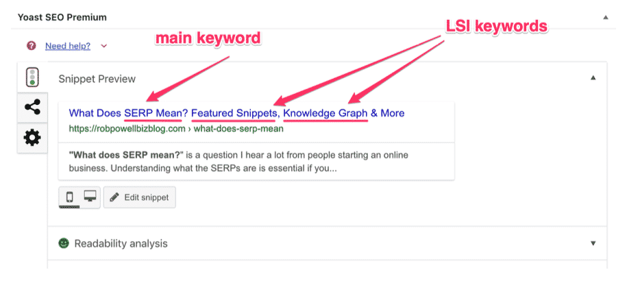 use lsi keywords in the meta tags