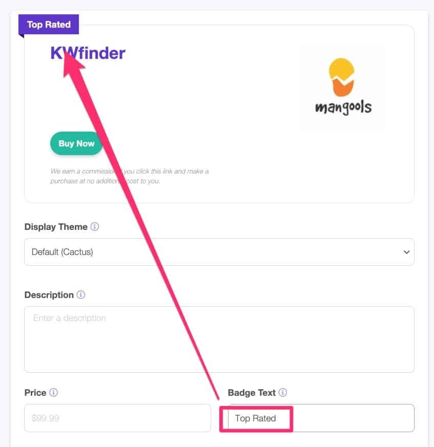 lasso wordpress plugin - change the badge text in Lasso display box