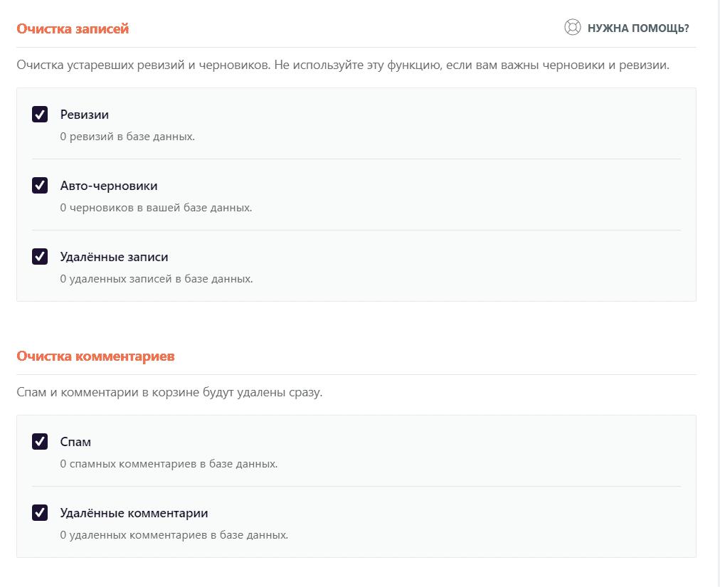 Опции базы данных в wp-rocket