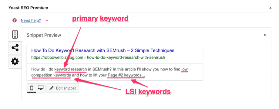 use LSI keywords in the description tag